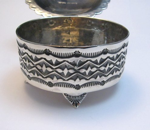 Image 5 of Sunshine Reeves Sterling Silver Box w/Lid, Kingman Turquoise, Navajo Handmade