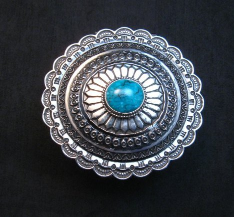 Image 8 of Sunshine Reeves Sterling Silver Box w/Lid, Kingman Turquoise, Navajo Handmade