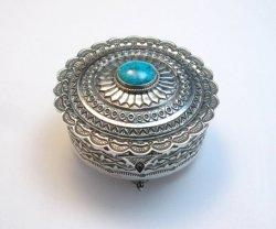 Sunshine Reeves Box w/Lid, Kingman Turquoise, Sterling Silver, Navajo Handmade