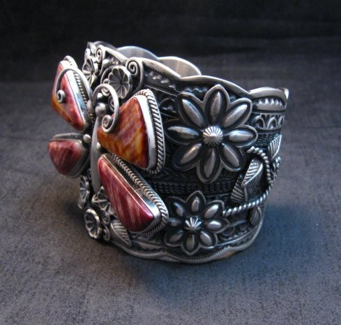 Image 2 of Donovan Cadman Navajo Spiny Oyster Butterfly Sterling Silver Bracelet, Wide
