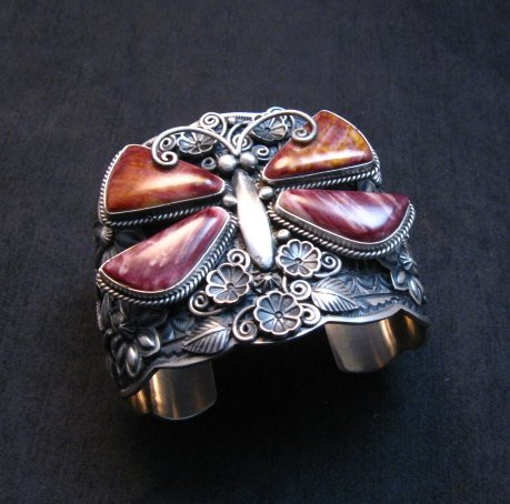 Image 8 of Donovan Cadman Navajo Spiny Oyster Butterfly Sterling Silver Bracelet, Wide