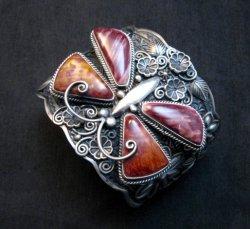 Donovan Cadman Navajo Spiny Oyster Butterfly Sterling Silver Bracelet, Wide