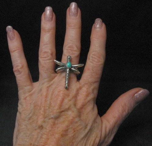 Image 2 of Navajo Turquoise Dragonfly Tufacast Silver Ring, Gary Custer sz7-1/4