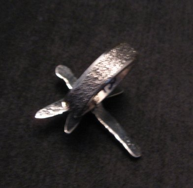 Image 3 of Navajo Turquoise Dragonfly Tufacast Silver Ring, Gary Custer sz7-1/4