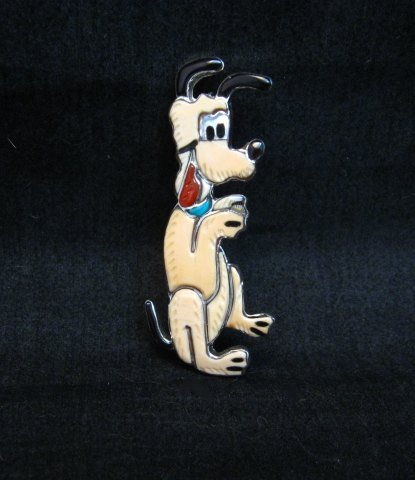 Image 0 of Zuni Pluto Dog Pin Pendant, Andrea Lonjose Shirley