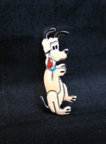 Image 2 of Zuni Pluto Dog Pin Pendant, Andrea Lonjose Shirley