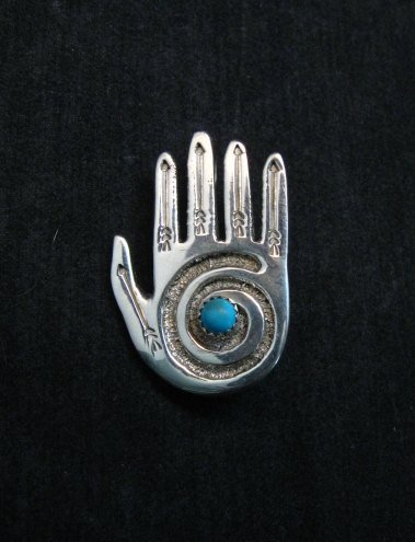 Image 0 of Allison Manuelito Navajo Sterling Silver Turquoise Healing Hand Pin/Pendant