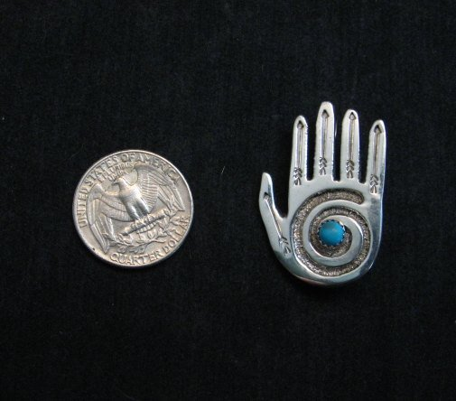 Image 1 of Allison Manuelito Navajo Sterling Silver Turquoise Healing Hand Pin/Pendant