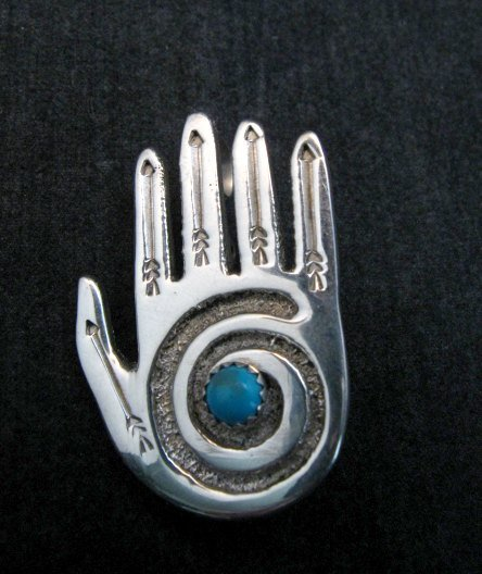 Image 3 of Allison Manuelito Navajo Sterling Silver Turquoise Healing Hand Pin/Pendant
