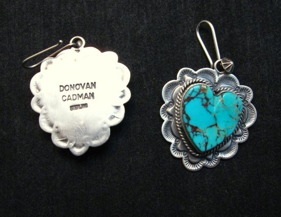 Image 2 of Native American Navajo Turquoise Silver Heart Earrings, Donovan Cadman