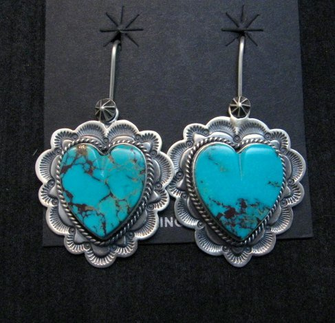 Image 3 of Native American Navajo Turquoise Silver Heart Earrings, Donovan Cadman