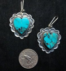 Native American Navajo Turquoise Silver Heart Earrings, Donovan Cadman