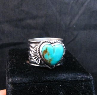 Image 0 of Navajo Native American Sunshine Reeves Turquoise Heart Ring sz7-1/2