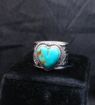 Image 1 of Navajo Native American Sunshine Reeves Turquoise Heart Ring sz7-1/2