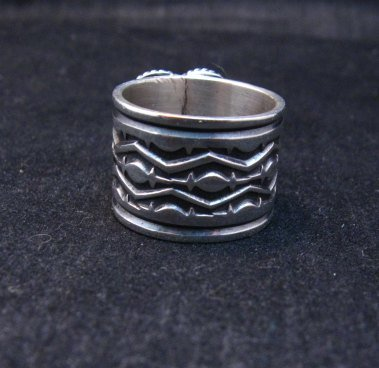 Image 2 of Navajo Native American Sunshine Reeves Turquoise Heart Ring sz7-1/2