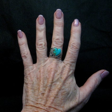 Image 3 of Navajo Native American Sunshine Reeves Turquoise Heart Ring sz7-1/2