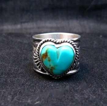 Image 4 of Navajo Native American Sunshine Reeves Turquoise Heart Ring sz7-1/2