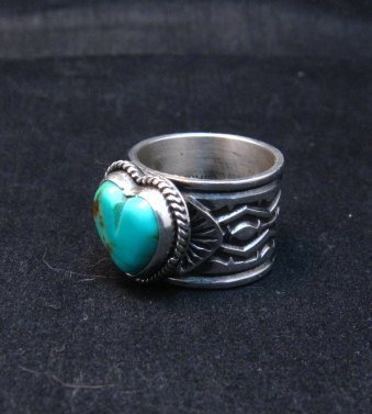 Image 5 of Navajo Native American Sunshine Reeves Turquoise Heart Ring sz7-1/2