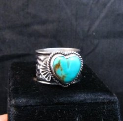 Navajo Native American Sunshine Reeves Turquoise Heart Ring sz7-1/2