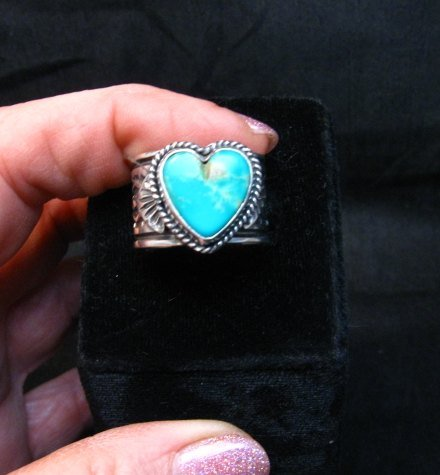 Image 0 of Navajo Native American Sunshine Reeves Turquoise Heart Ring sz9