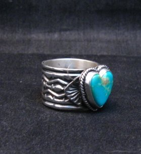 Image 1 of Navajo Native American Sunshine Reeves Turquoise Heart Ring sz9