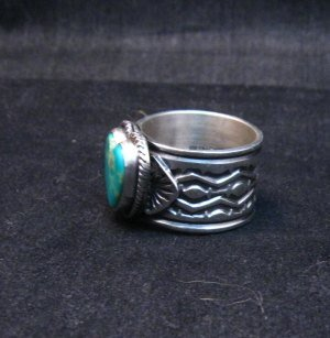 Image 2 of Navajo Native American Sunshine Reeves Turquoise Heart Ring sz9