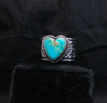 Image 4 of Navajo Native American Sunshine Reeves Turquoise Heart Ring sz9