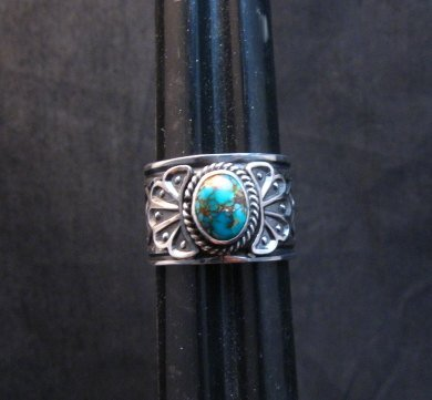 Image 0 of Navajo Sunshine Reeves Candelaria Turquoise Sterling Silver Ring sz9-1/2
