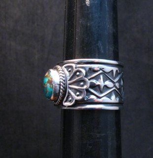 Image 1 of Navajo Sunshine Reeves Candelaria Turquoise Sterling Silver Ring sz9-1/2