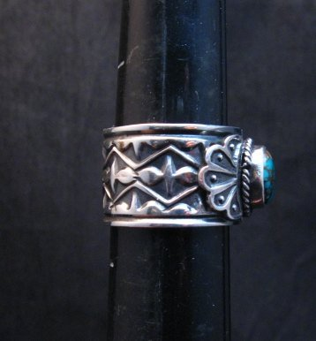 Image 2 of Navajo Sunshine Reeves Candelaria Turquoise Sterling Silver Ring sz9-1/2