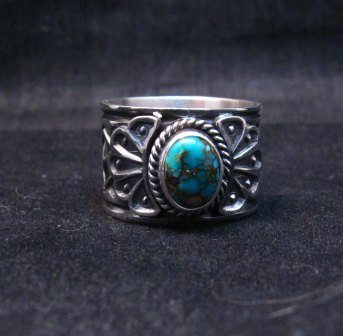 Image 4 of Navajo Sunshine Reeves Candelaria Turquoise Sterling Silver Ring sz9-1/2