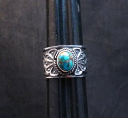 Navajo Sunshine Reeves Candelaria Turquoise Sterling Silver Ring sz9-1/2