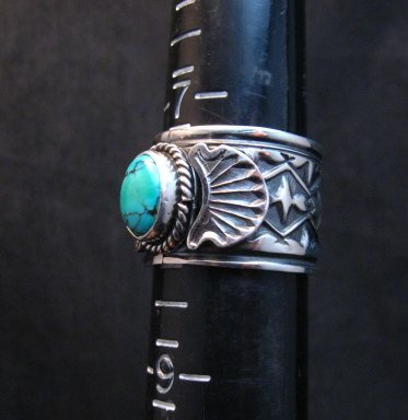 Image 1 of Navajo Sunshine Reeves Turquoise Sterling Silver Native American Ring sz8