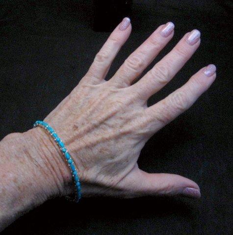 Image 3 of Zuni Native American Turquoise Silver Bangle Bracelet, Elvira Kiyite