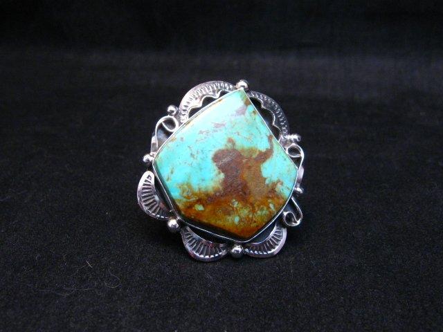 Image 1 of Big Native American Navajo Royston Turquoise Ring Sz7-1/2
