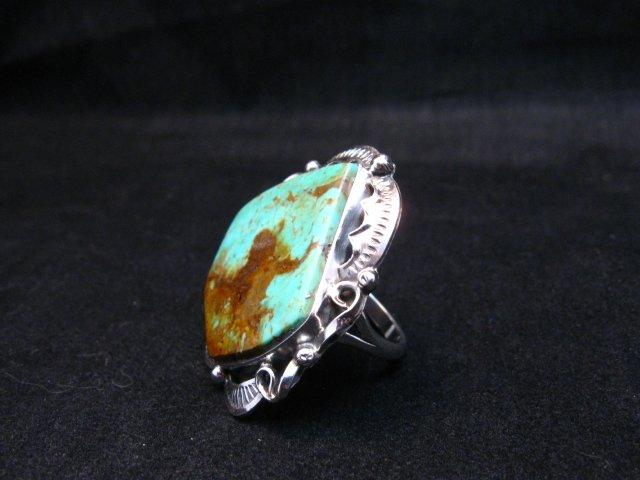Image 2 of Big Native American Navajo Royston Turquoise Ring Sz7-1/2