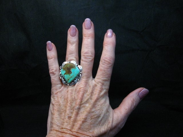 Image 3 of Big Native American Navajo Royston Turquoise Ring Sz7-1/2