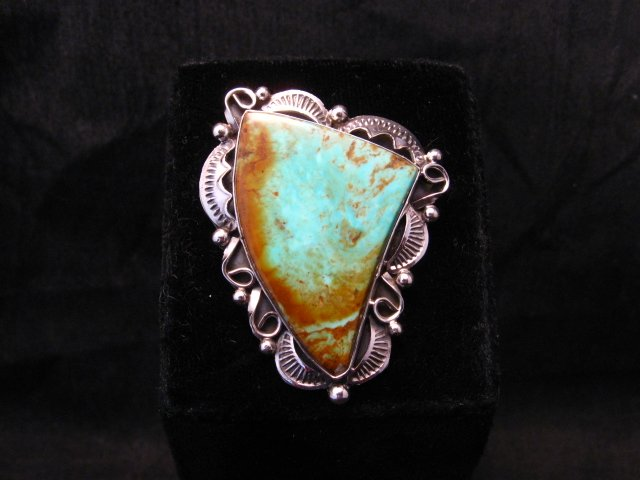 Image 0 of Big Native American Navajo Royston Turquoise Silver Ring Sz6-3/4