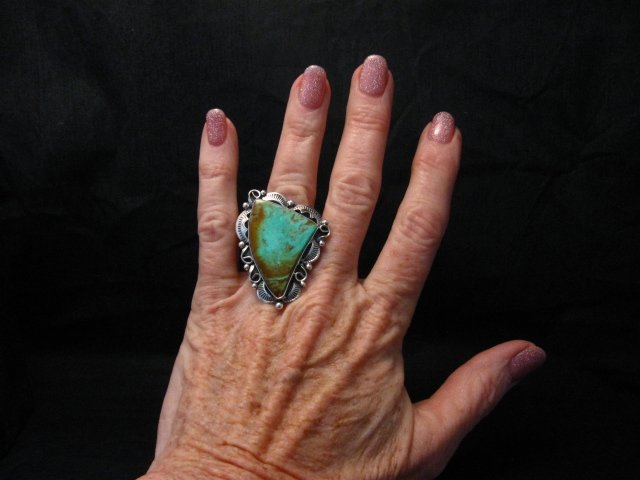 Image 1 of Big Native American Navajo Royston Turquoise Silver Ring Sz6-3/4