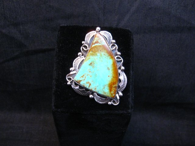 Image 2 of Big Native American Navajo Royston Turquoise Silver Ring Sz6-3/4