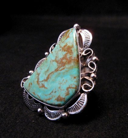 Image 0 of Native American Navajo Royston Turquoise Silver Ring Sz8