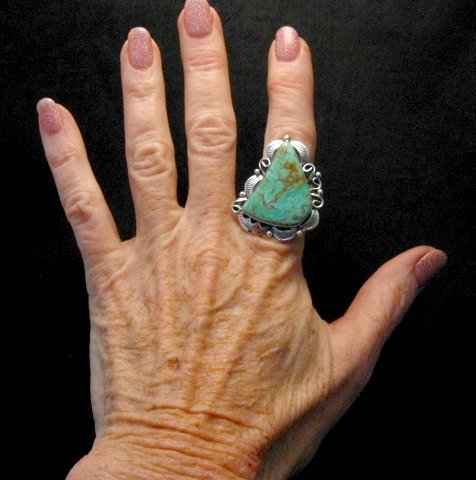 Image 1 of Native American Navajo Royston Turquoise Silver Ring Sz8