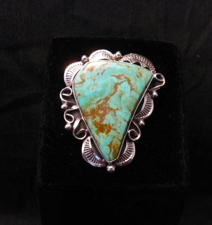 Image 3 of Native American Navajo Royston Turquoise Silver Ring Sz8