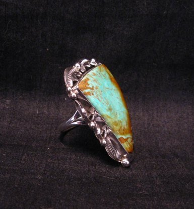 Image 2 of Big Native American Navajo Royston Turquoise Ring Sz7-3/4