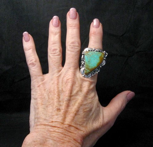 Image 3 of Big Native American Navajo Royston Turquoise Ring Sz7-3/4