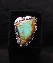 Big Native American Navajo Royston Turquoise Ring Sz7-3/4