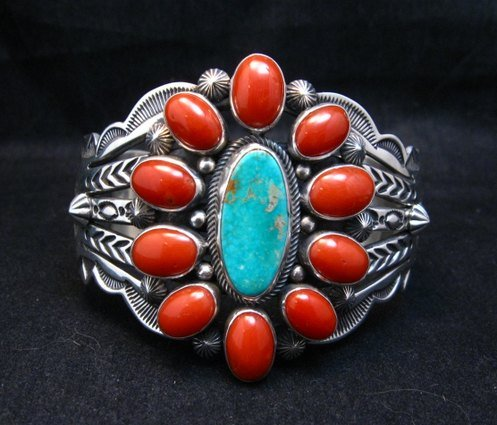 Image 0 of Aaron Toadlena Navajo Turquoise Coral Cluster Bracelet Native American
