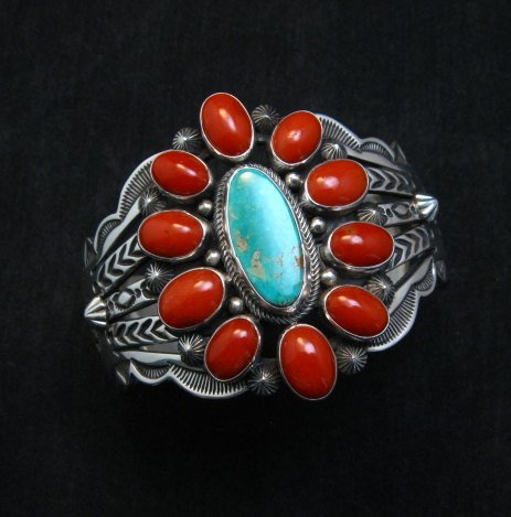 Image 1 of Aaron Toadlena Navajo Turquoise Coral Cluster Bracelet Native American