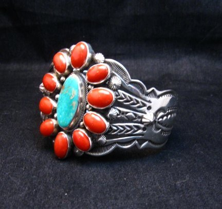 Image 2 of Aaron Toadlena Navajo Turquoise Coral Cluster Bracelet Native American
