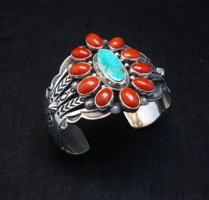 Image 6 of Aaron Toadlena Navajo Turquoise Coral Cluster Bracelet Native American